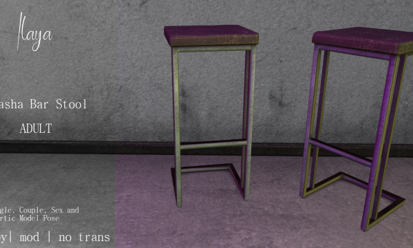 [ILAYA] - Sorena Slave Rack & Sasha Bar Stool. Decor Pieces L$250 - L$350.
