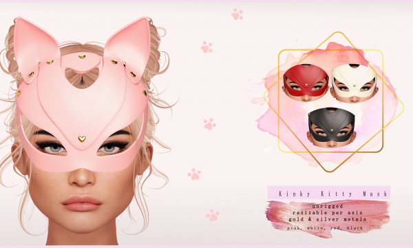 Swan - Kinky Kitty Mask. Individual L$250 each | Fatpack L$750.